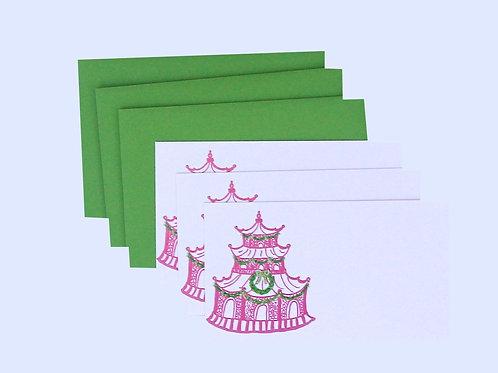 Holiday Pink & Green Pagoda Gift Enclosure Card Set