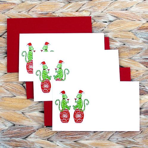 Chinoiserie Christmas Monkeys Gift Enclosure Card Set