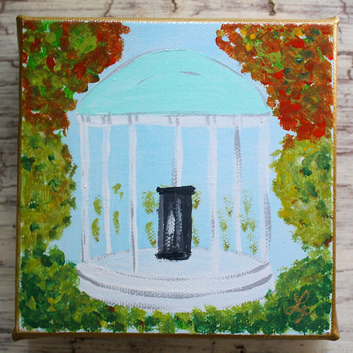 """Autumn UNC Old Well Original Painting 5"""" x 5"""""""