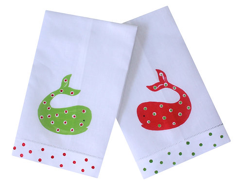 Coastal Christmas Whale Linen Guest Towel Set