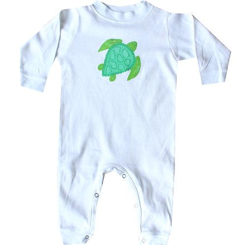 Green Sea Turtle Beach Long Sleeve Baby Romper