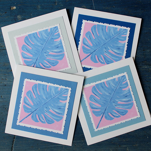 Periwinkle and Pink Botanical Monstera Leaf Note Card Set