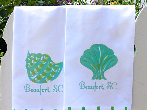 Turquoise and Lime Shell Kitchen Towels