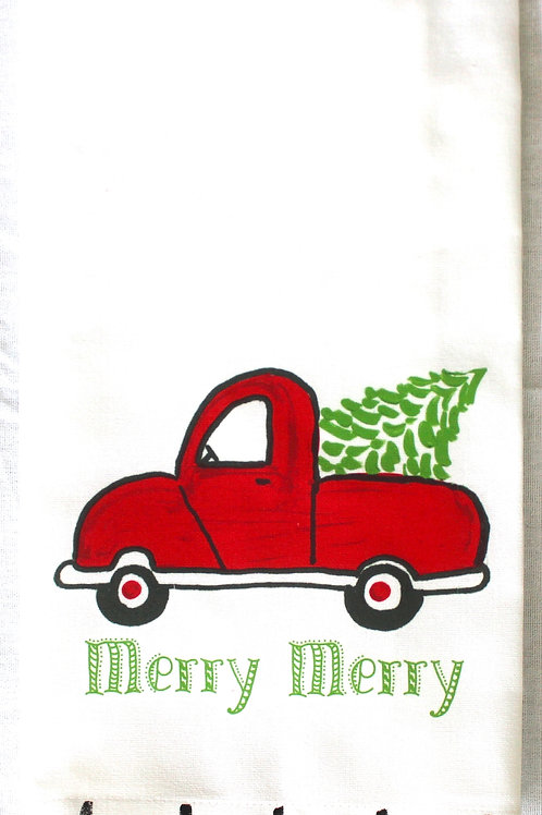 Holiday Red Christmas Tree Truck Tea Towel