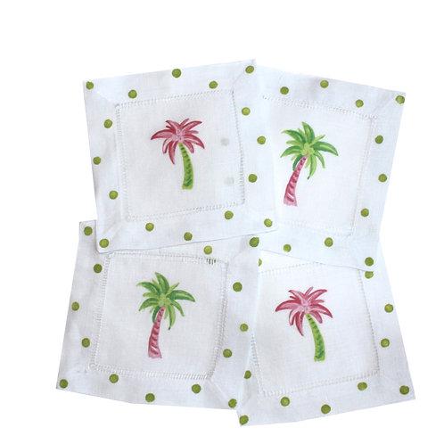Palm Tree Linen Cocktail Napkins