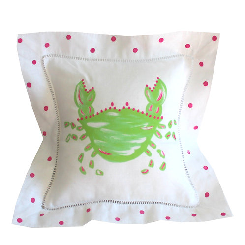 Green and Pink Crab Linen Pillow