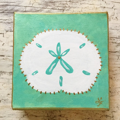 Turquoise and Gold Sand Dollar Original Painting