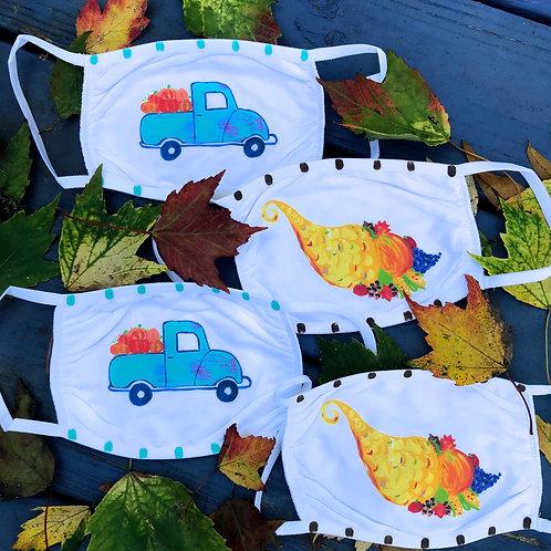 Fall Pumpkin Truck and Thanksgiving Cotton Face Masks