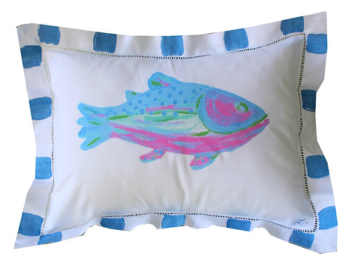 Colorful Blue Fish Pillow