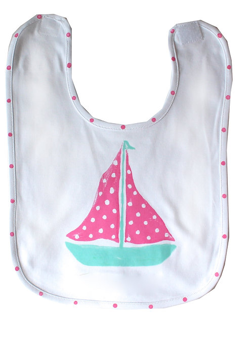 PInk and Turquoise Sailboat Baby Bib