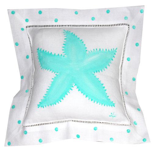Turquoise Starfish Linen Pillow