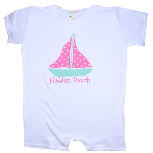 Pink Turquoise Sailboat Baby Romper