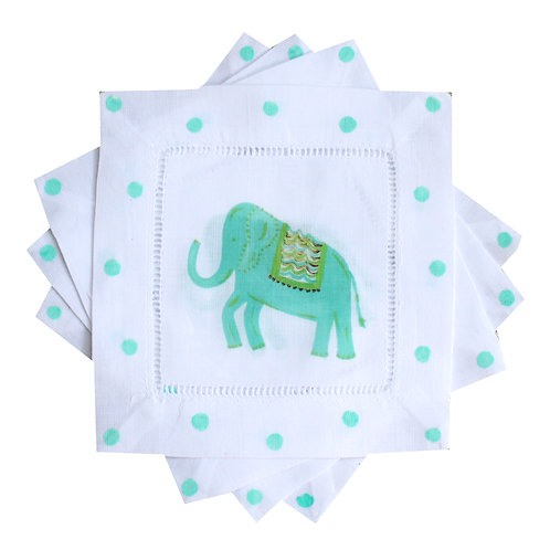 Turquoise Elephant Linen Cocktail Napkins
