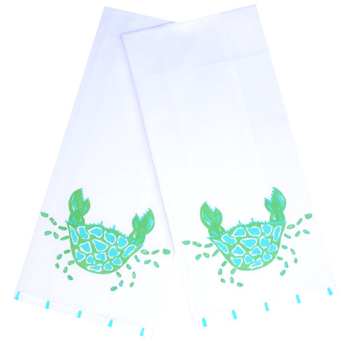Green and Turquoise Spotted Crab Kitchen Towel