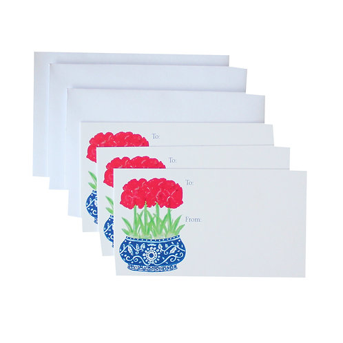 Blue Chinoiserie Red Amyrillis Gift Enclosure Card Set