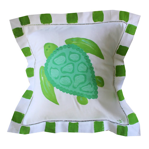 Green and Turquoise Sea Turtle  Pillow