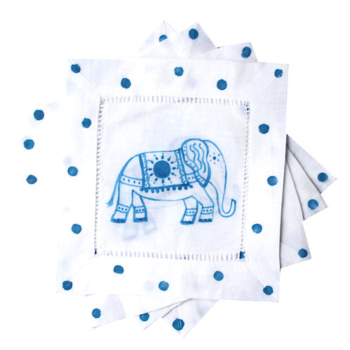 Blue and White Elephant Linen Cocktail Napkins