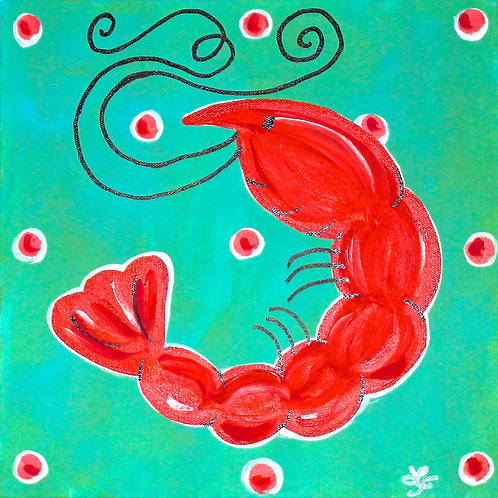 Whimisical Shrimp Original Beach Art
