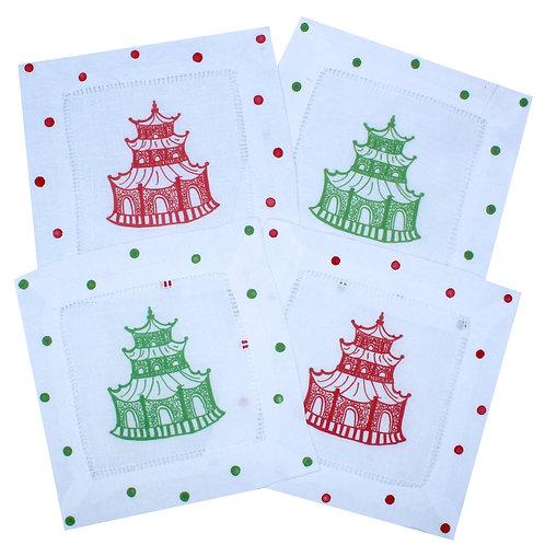 Chinoiserie Christmas Pagoda Linen Cocktail Napkins