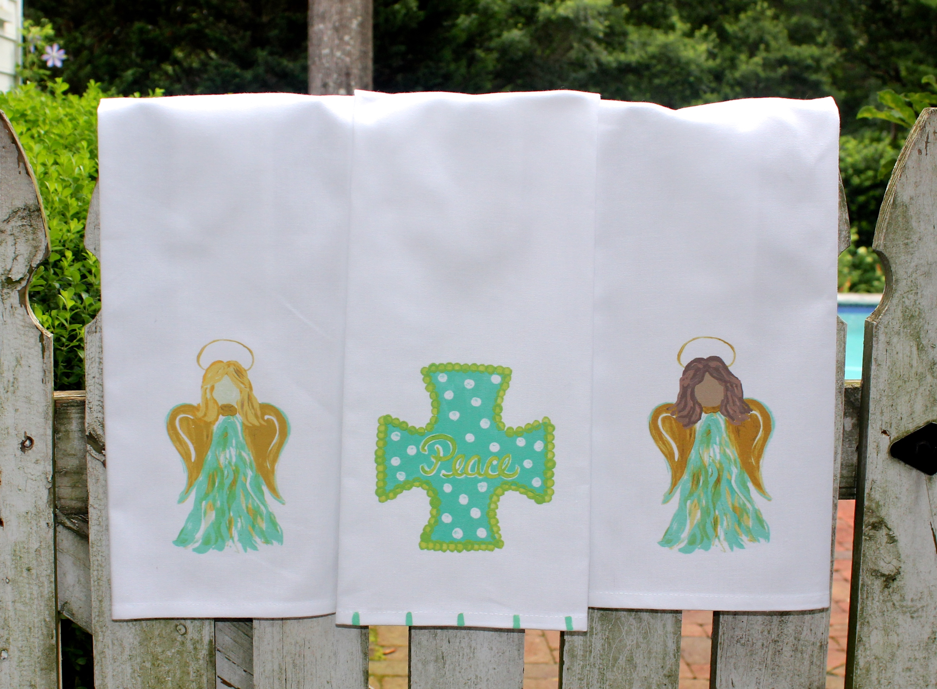 Angels & Cross Christmas Tea Towels