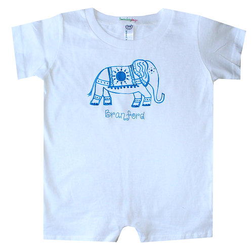 Blue White Chinoiserie Elephant Baby Romper