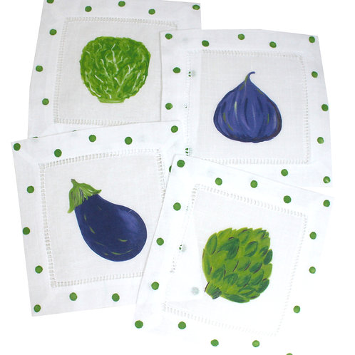 Garden Vegetable Linen Cocktail Napkins