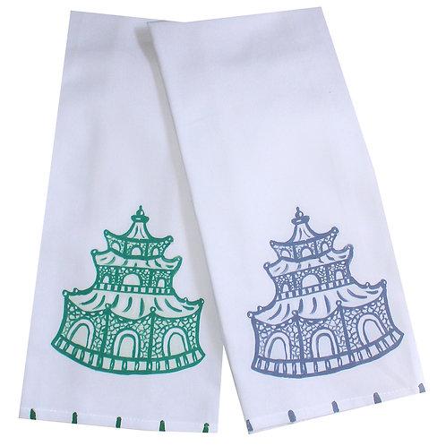 Autumn Colors Chinoiserie Pagoda Tea Towel
