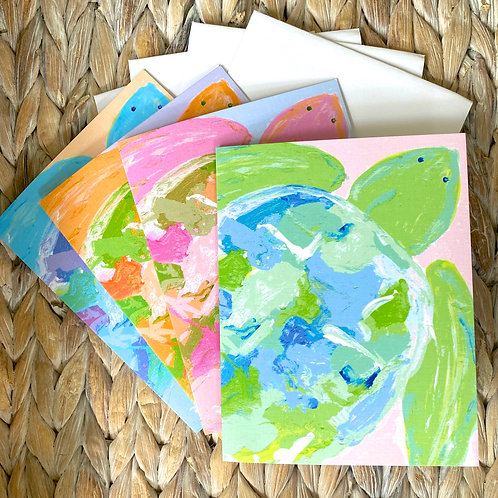 Abstract Sea Turtle Note Card Set