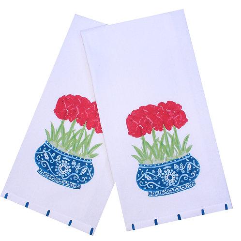Red Amaryllis Chinoiserie Tea Towel