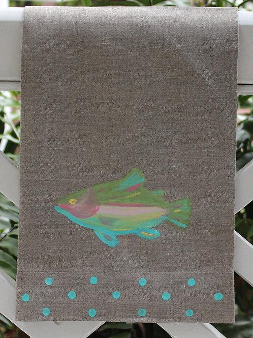 Rainbow Trout Linen Guest Towel