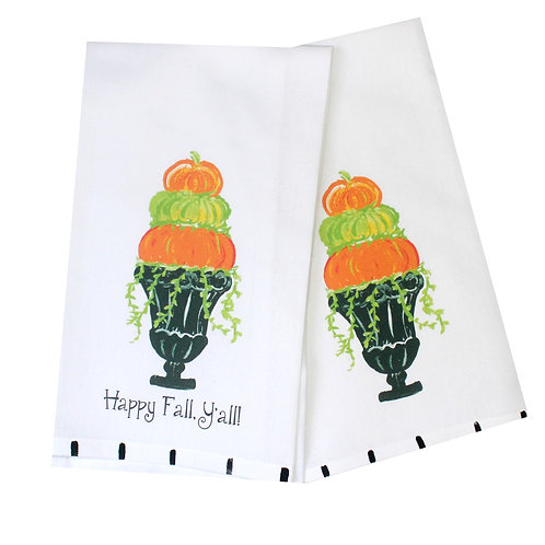 Pumpkin Topiary Tea Towel