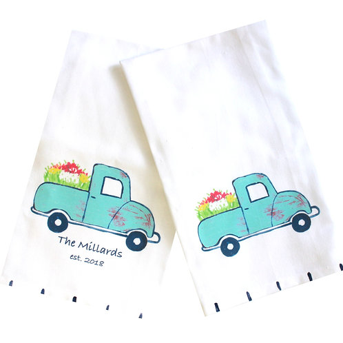 Blue Flower Truck Kitchen Towel