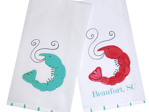Whimsical Shrimp Kitchen Towel