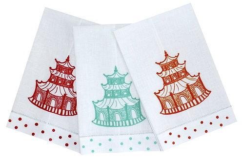 Chinoiserie Pagoda Linen Guest Towels