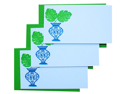 Chinoiserie Monstera Leaf Gift Enclosure Card Set