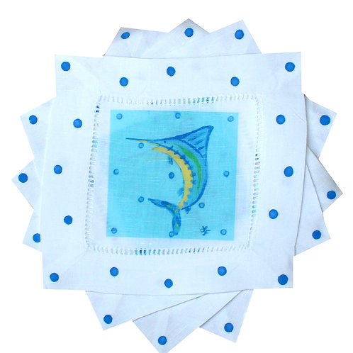 Blue Marlin Sports Fishing Cocktail Napkins