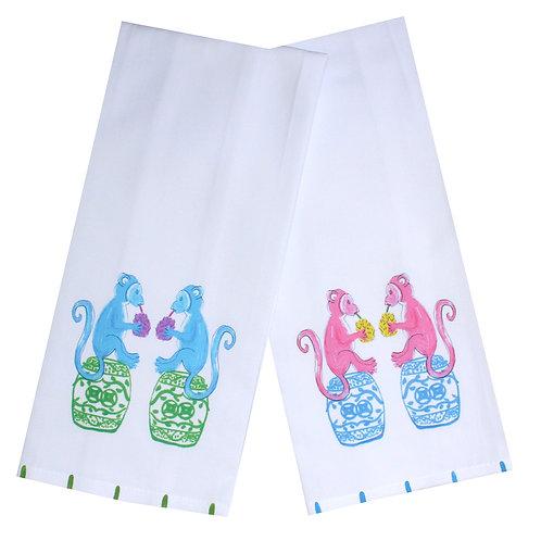 Chinoiserie Monkeys Tea Towel