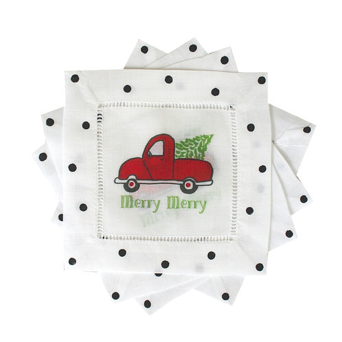 Red Christmas Truck Linen Cocktail Napkins