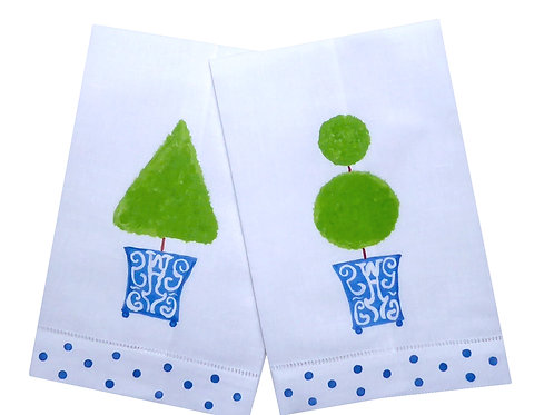 Printed Topiary Linen Guest Towels