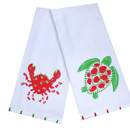 Christmas Crab or Sea Turtle Kitchen Tea Towel