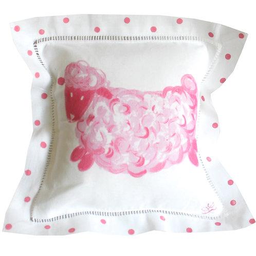 Pink Baby Lamb Linen Pillow