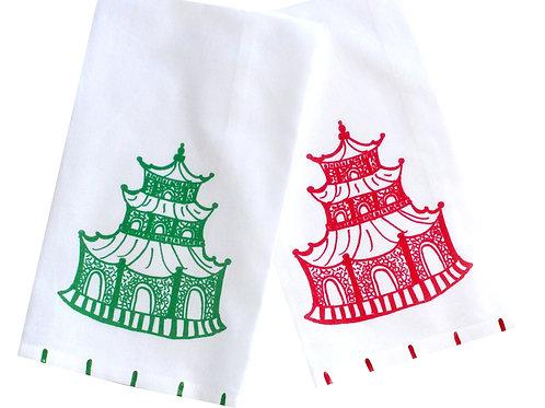 Red and Green Chinoiserie Pagoda Tea Towel