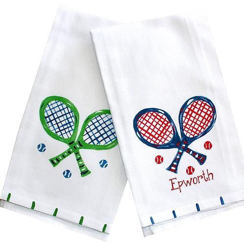 Green or Navy Tennis Racquet Kitchen Towel