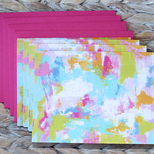 Tropical Color Abstract Art Blank Note Card Set