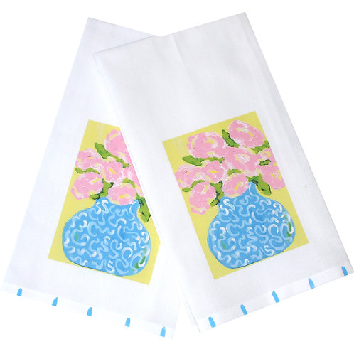 Cottage Roses in Blue Chinoiserie Tea Towel