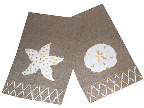 Gold and White Sandollar and Starfish Linen Towels