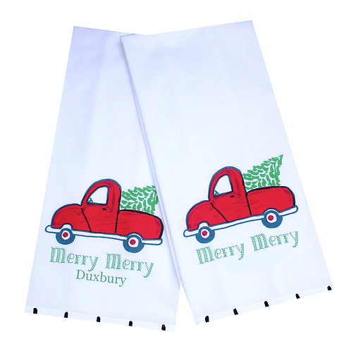 Holiday Red Christmas Tree Truck Tea Towel