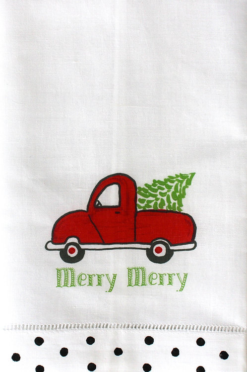 Red Christmas Tree Truck Linen Guest Towel