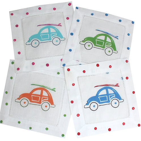 Surfs Up!  V-W Surf Bug Linen Cocktail Napkins