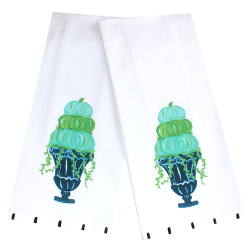 Turquoise Pumpkin Topiary Tea Towel